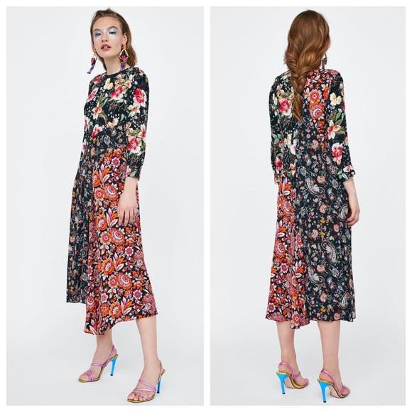 ebc507fa ZARA Floral Patchwork Midi Dress. M_5c6dd7f54ab633ebb51c1886